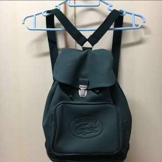 Lacoste deep-green small mini backpack bag. Made in France. 法國 鱷魚仔 深綠色 細 背包 背囊