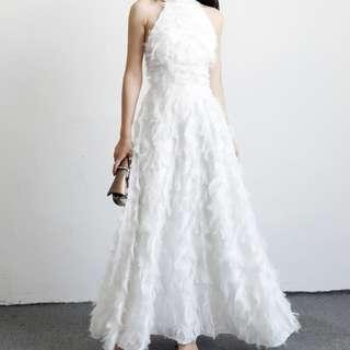 Feather Furry Maxi Dress #CNY