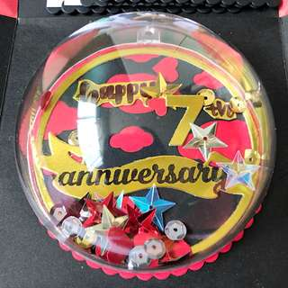 Happy 7th Anniversary Explosion Box Card in red and black