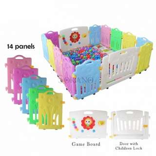 14 PANELS BABY SAFETY PLAY YARD WITH SAFETY DOOR AND GAME WALL (12 PANELS + 1 GAME WALL + 1 DOOR)