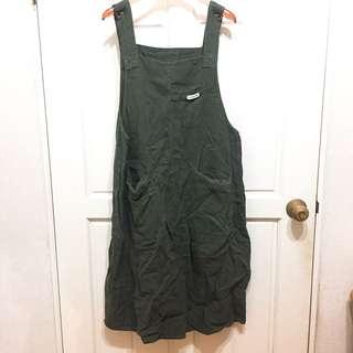 *二手* 棉麻 工作服 小洋裝 墨綠色 吊帶裙