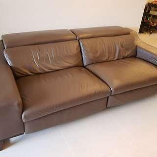 Full leather recliner sofa motorised
