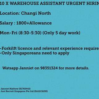 WAREHOUSE ASSISTANT WITH CLASS 3 LICENSE