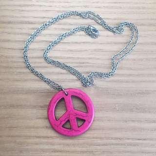 全新 木製peace sign頸鏈