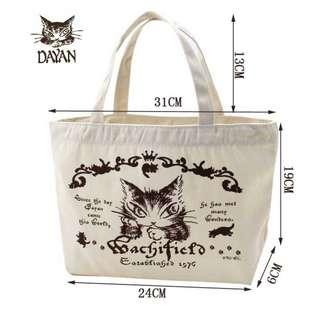 手挽布袋 便當可放飯盒 猫咪