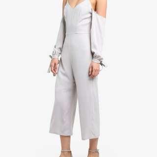 Grey Off-Shoulder Jumpsuit