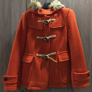 【二手外套 】 UNIQLO優衣庫 連帽羊毛短版牛角大衣#含運費