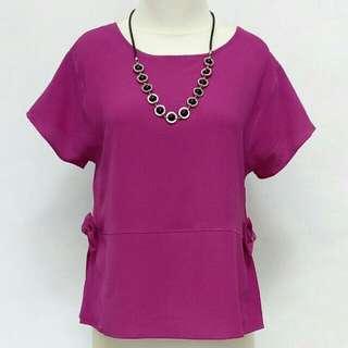 Top blouse ungu peplum
