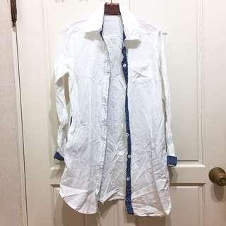 🚚 全新! 襯衫 白色 袖口拼接 點點