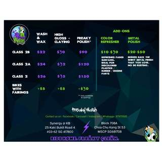 Price list for Freakywash