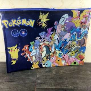 Pokemon file folder clear mesh bag document folder with zipper