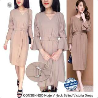 CONSENSO Nude V Neck Midi Dress