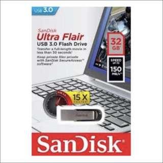 全新 Sandisk Ultra Flair CZ73 USB 3.0 Flash Thumb Drive U盤 隨身碟 32G 32GB 150MB/s