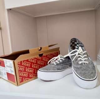 Vans經典厚底麻灰滑板鞋 平板鞋 235