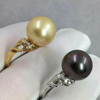 T方鑽石鑲嵌 南洋金珠 大溪地孔雀紫黑珍珠 10-11mm乾淨強光 💰💰優惠價發售,歡迎咨詢訂購😊