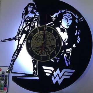 Vinyl Record Wall Clock Lamp w Remote Controller