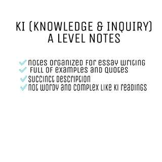 KI knowledge and inquiry A level notes