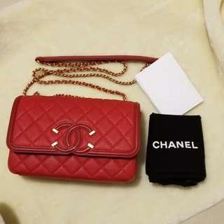 Chanel single flap RED filigree handbag