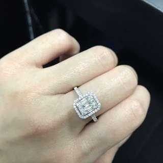 18K 祖母綠形拼圖鑽石戒指 1.5卡面 批發價