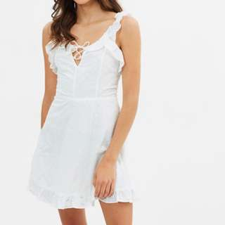 Lioness Hamptons Mini Dress in Anglaise White - Size M 10 BNWT! RRP $90