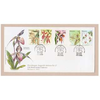 Malaysia 2002 17TH WORLD ORCHIDS CONFERENCE FDC SG #1066a, 1068 & 1069a CV £6.60 (slight toning on cover!!!)