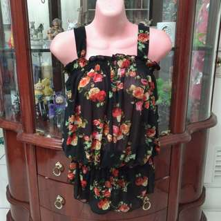 Sheer Black Floral Top