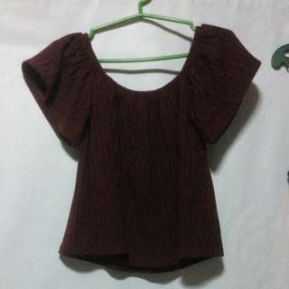 Knitted Maroon Off Shoulder
