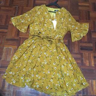 Flora Dress - Mustard colour L Size