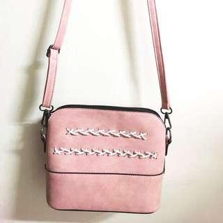 粉紅 大理石粉色 霧面斜背包