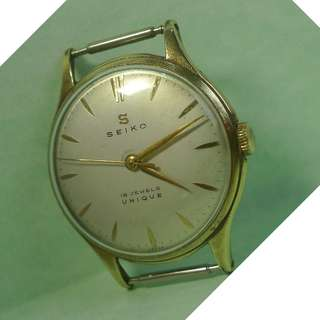 1950s' ( S ) mark vintage Seiko Unique 17-Jewels Mechanical Hand-Winding Watch, servicing has done !