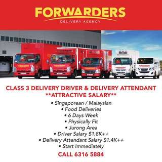 CLASS 3 DELIVERY DRIVER & DELIVERY ATTENDANT
