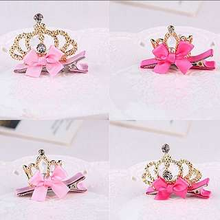 Princess Tiara Crown Hair Clip Set