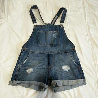 (NEW) BARDOT Denim Distressed Overalls