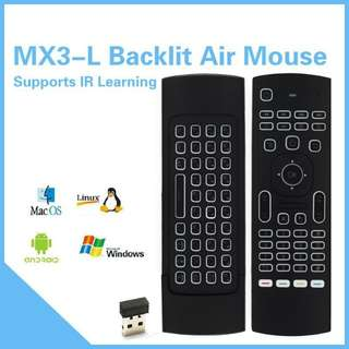 Wireless AirMouse QWERTY keyboard Backlight