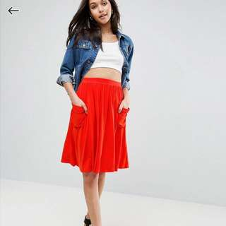 asos Jersey Mid Skirt With Pocket
