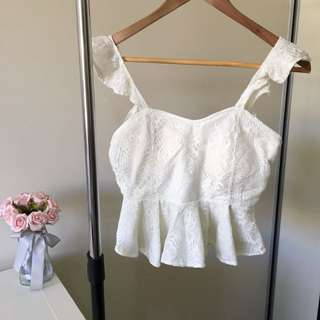 Frill lace crop top