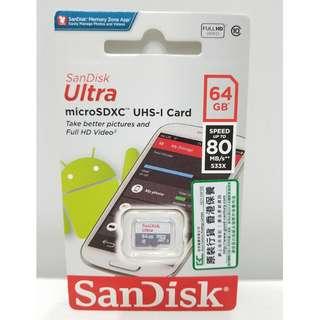全新行貨 SanDisk Ultra Micro SDXC 記憶卡 64GB 80MB/s