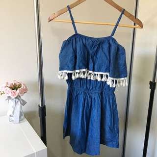 Denim Tassel Playsuit