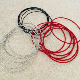 Red, Silver and Black Bangles