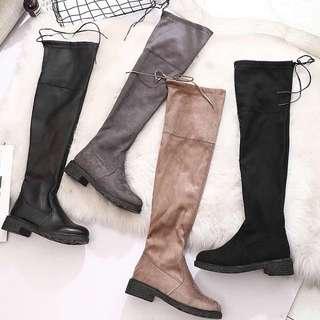 過膝長靴彈力性感瘦腿女士黑色長筒靴膝上靴
