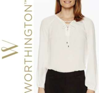 WORTHINGTON Lace Up Blouse (White)
