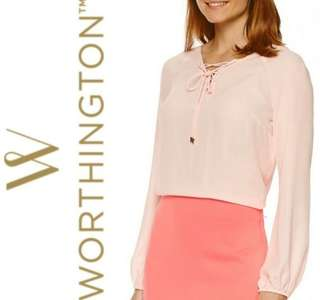 WORTHINGTON Lace Up Blouse (Peach)