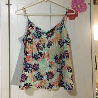 F21 floral silk top