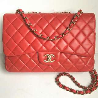 Chanel Jumbo Red Coral GHW #13 - bag , holo , db - 515 💕