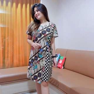 ELLE BATIK DRESS idr 99.000 bahan katun streght HQ motifbatik ld : 90-118 p : 89 warna : brown and black