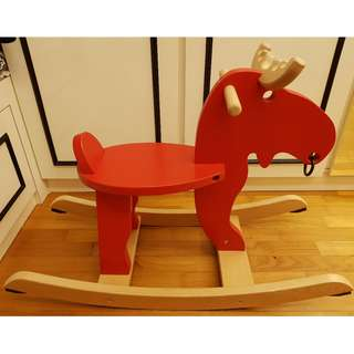 Red Wooden Rocking Horse Miniature Wooden Furniture Rocking Horse