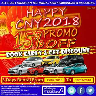 Car Rental CNY 2018 PROMO IS OPEN NOW