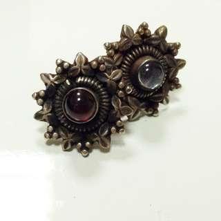 老銀半寶石耳環