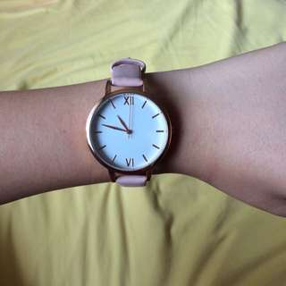 Pink, leather, rose-gold watch