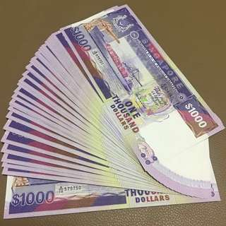 CLEARANCE SALE - 1987 Singapore $1000 Ship Series [[ Half a Stack ]] 50 Pieces Consecutive Running Number from A/10 575701 to A/10 575750 - Every Single Piece in Original Brand New Mint Uncirculated Condition (UNC)